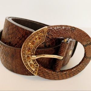 Accessories - Snakeskin Textured Suede Rhinestone Buckle Belt